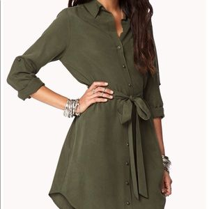 NWT Forever 21 Olive Shirt Dress